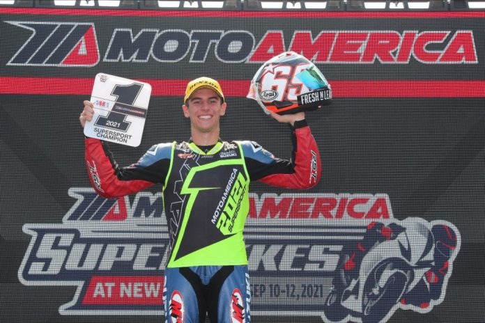 Sean Dylan Kelly, the 2021 MotoAmerica Supersport Champion. Photo by Brian J. Nelson, courtesy MotoAmerica.