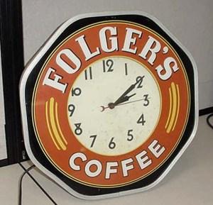 Vintage Folgers neon clock, Vintage Advertising Neon Clocks