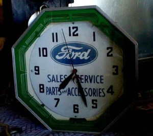 Old Ford neon clock neon products inc.,old signs, Vintage Advertising Neon Clocks