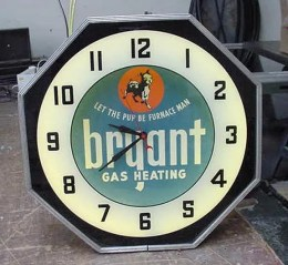 BRYANT neon clock, Advertising Neon Clocks, Vintage Advertising Neon Clocks
