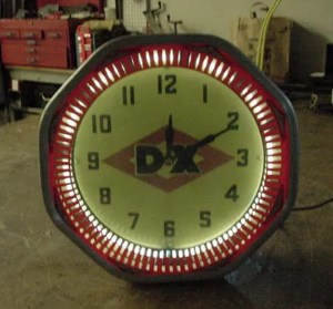 D-X neon spinner clock, Vintage Advertising Neon Clocks