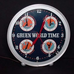 Gruen world Time neon clock, Vintage Advertising Neon Clocks