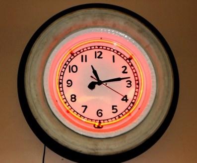 Porcelain Neon Clock, Vintage Advertising Neon Clocks