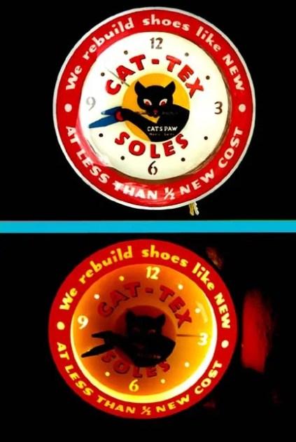 Clock advertising Cats Paw, Vintage Advertising Neon Clocks