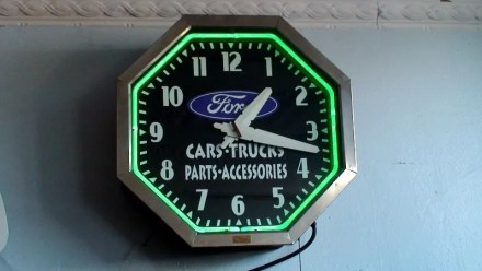 neon sign Ford clock, Vintage Advertising Neon Clocks