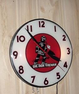 Iron Fireman Telechron light up clock, Vintage Advertising Neon Clocks