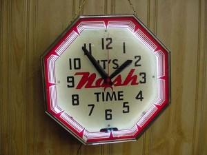 Old Nash neon clock, Vintage Advertising Neon Clocks