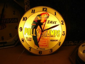 vintage Polly Stamps double bubble gas clock, Vintage Advertising Neon Clocks