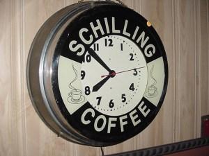 Vintage Schilling Coffee Neon Clock, Old Unique Advertising Signs , Vintage advertising signs