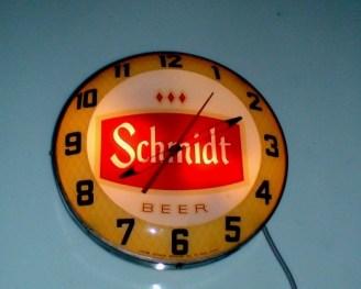 Old Schmidt Beer Clock, Vintage Advertising Neon Clocks