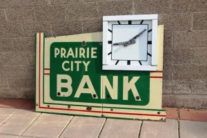 Neon Porcelain Bank sign from Prairie City , neon clock, Old Unique Advertising Signs , Vintage advertising signs