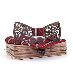Coffret noeud papillon bois & manchette Rouge