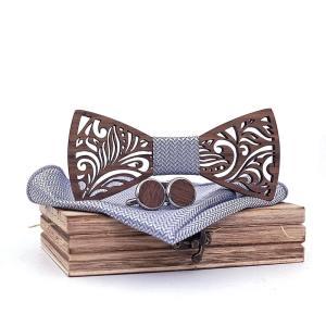 Coffret noeud papillon bois & manchette gris