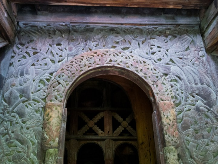 Borgund Stave Church - Norway - entrance door carved lintel