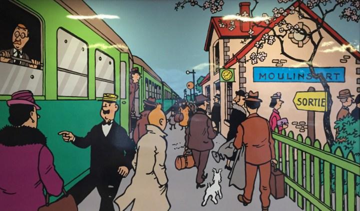 Tintin - mural Midi Train station - Brussels - Belgium