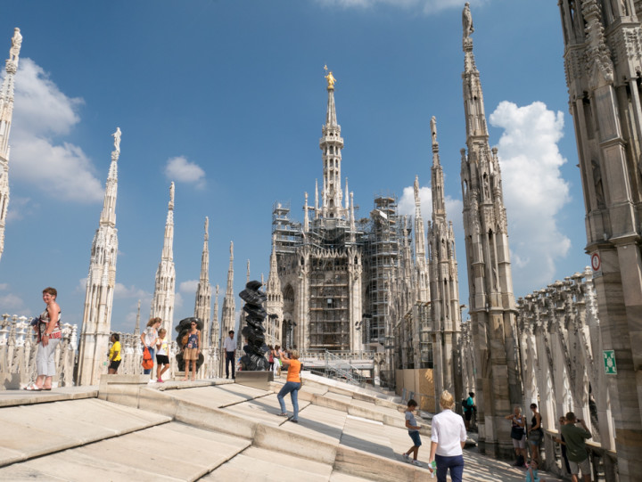 The roof top of the Duomo di Milano hosts a scuptures exhibition - Milan Cathedral - Italy