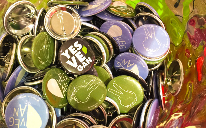 Vegan pins at Veganz grocery store - Schivelbeiner Straße or Vegan Avenue - Berlin