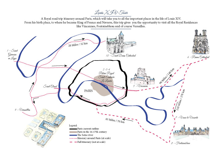 A Royal Road Trip Itinerary - Louis XIV Tour around Paris - available for download on roadtripsaroundtheworld.com
