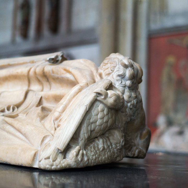Detail of a Gisant in the Cologne Cathedral in Germany