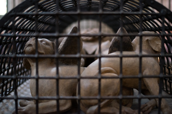 Detail of the Gisant of the Count Gottfried of Arnsberg with its arched iron grid, in the Cologne Cathedral - Germany