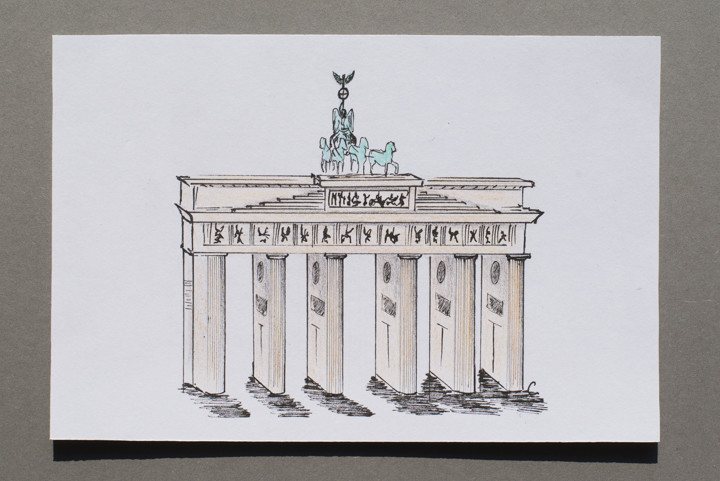 Drawing of the Brandenburg Gate in Berlin, Germany - postcard available on roadtripsaroundtheworld.com
