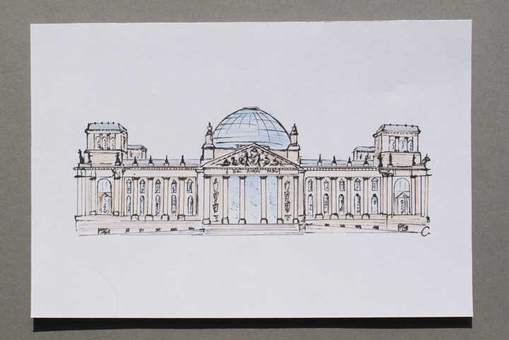 Drawing of the Reichstag in Berlin, Germany - postcard available on roadtripsaroundtheworld.com