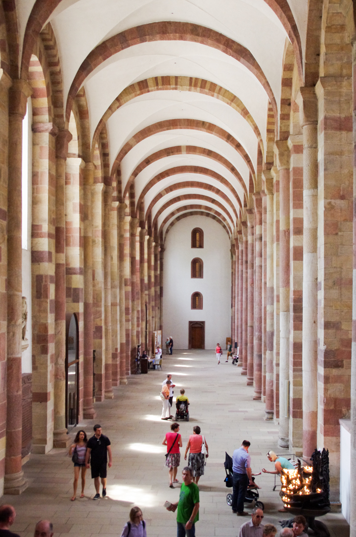 One of the Aisles of the Speyer Cathedral in Germany - Visit roadtripsaroundtheworld.com to learn more