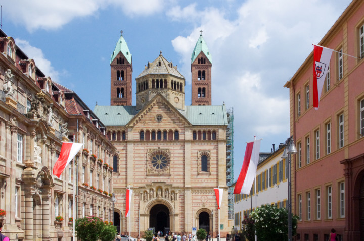 The Speyer Cathedral as seen from the city - Visit roadtripsaroundtheworld.com to learn more