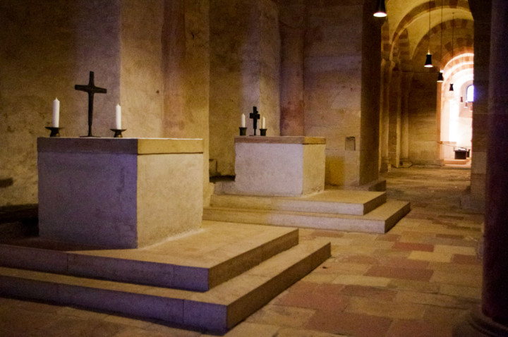 The altars in the Cript of th Speyer Cathedral in Germany - Visit roadtripsaroundtheworld.com to learn more
