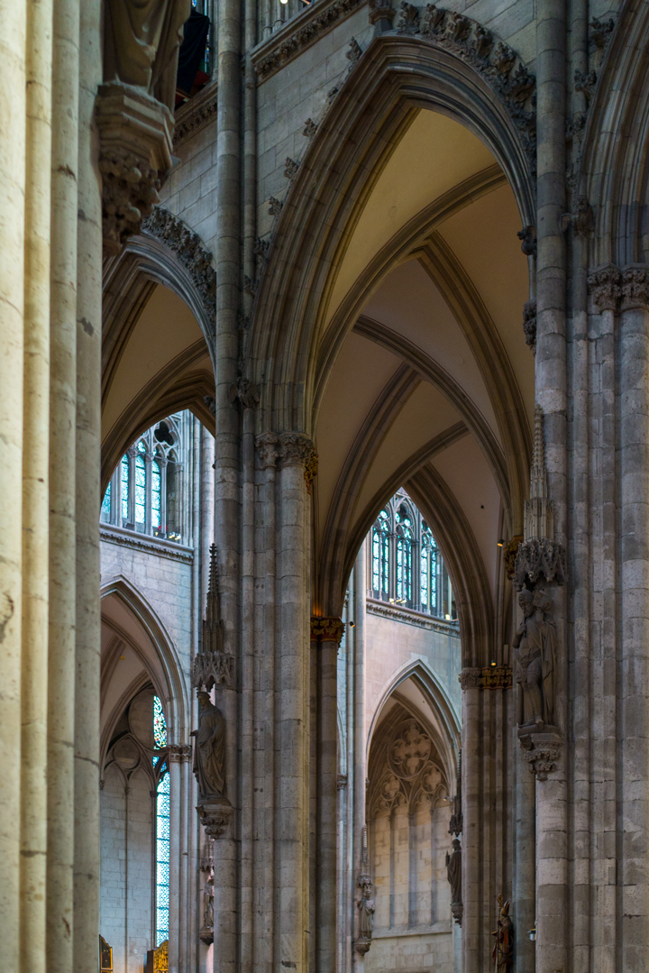 View of the Gothic Aisles, Nave and Transept of the Cologne Cathedral in Germany