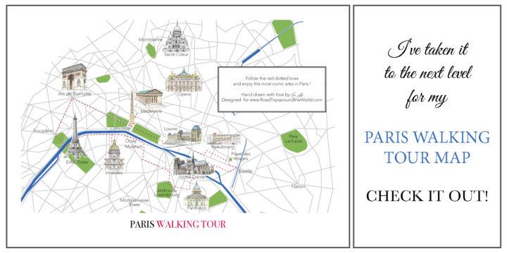 Visit Paris with my hand drawn map of Paris - www.RoadTripsaroundtheWorld.com
