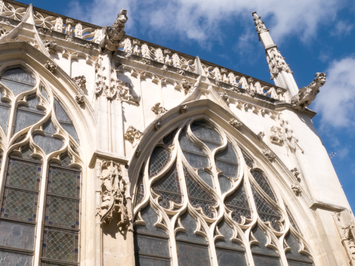 Detail of Gothic church windows in Troyes, France - roadtripsaroundtheworld.com