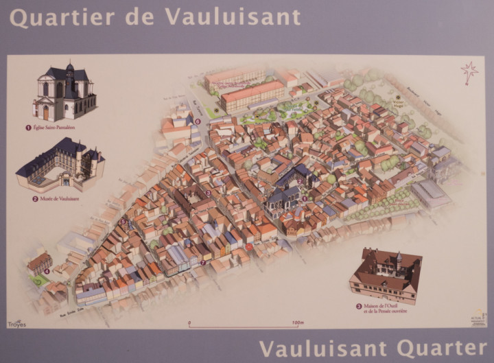 Map of the Vauluisant quarter in Troyes, France - roadtripsaroundtheworld.com
