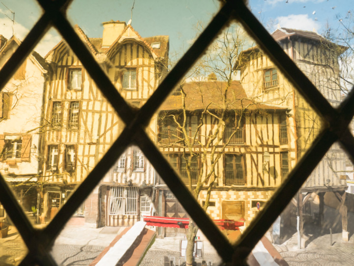 View of Troyes, France from stained glass - roadtripsaroundtheworld.com