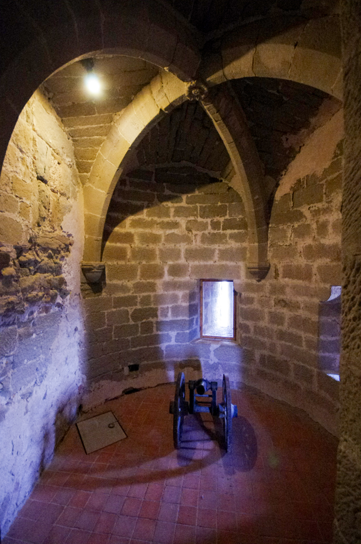 Inside a tower of the caslte in Carcassonne - learn more on roadtripsaroundtheworld.com