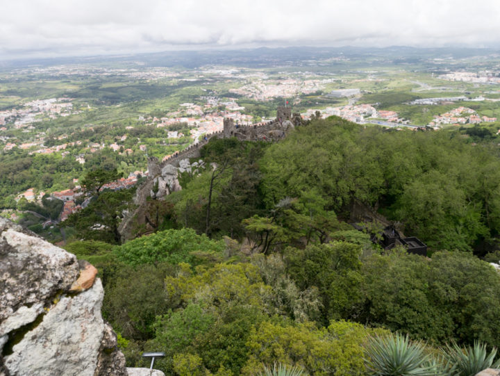 Looking down on the Castle of the Moors Sintra - Portugal - Learn more on roadtripsaroundtheworld.com