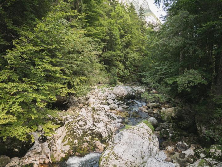 Down the river from the Savica waterfall near lake Bohinj, Slovenia - learn more on RoadTripsaroundtheWorld.com