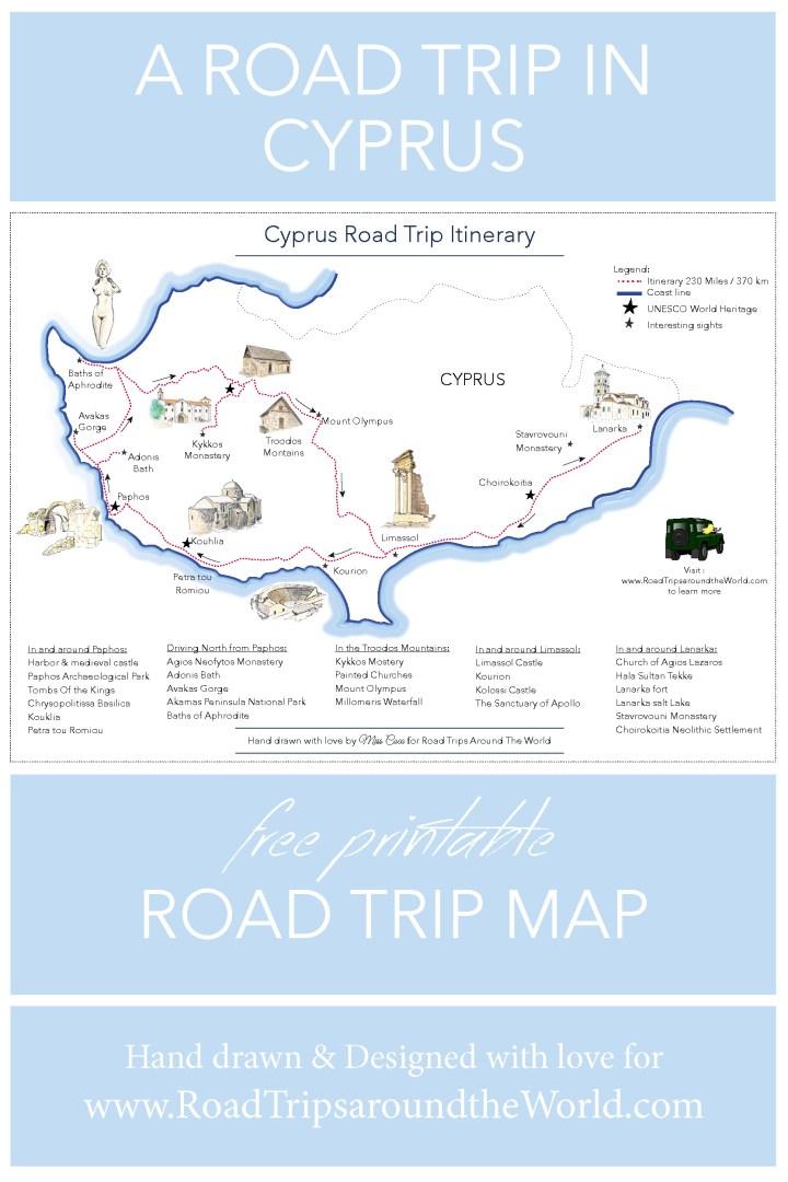 Free printable Road Trip map - Road Trip in Cyprus - Learn more on www.RoadTripsaroundtheWorld.com