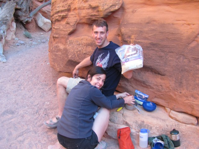 Backpacking Capitol Reef: Making Dinner in Chimney Rock Canyon in Capitol Reef National Park