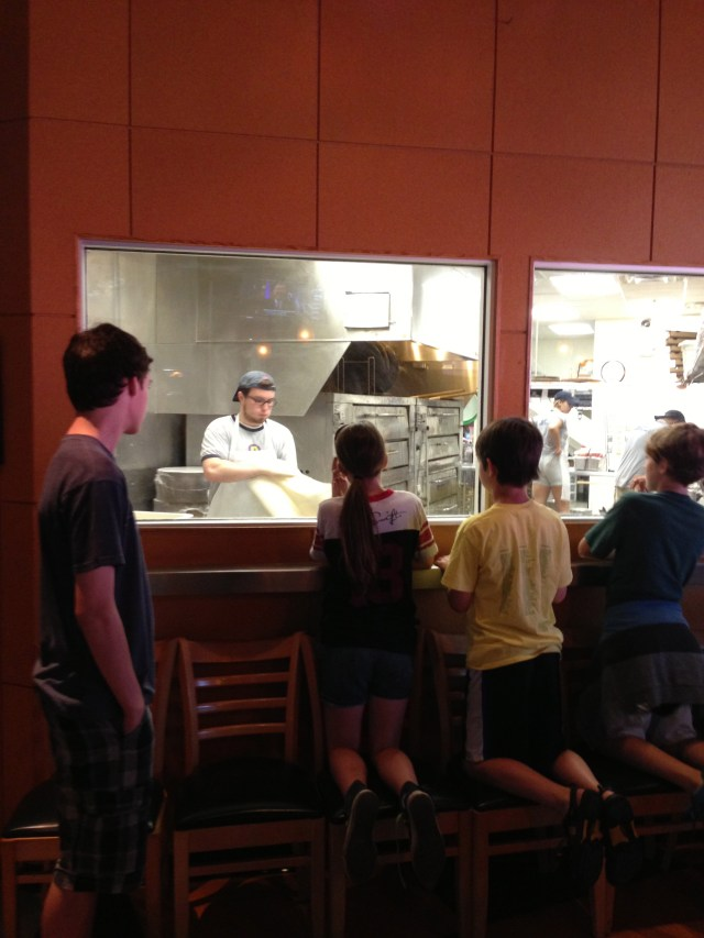 Watching Our Pizza's Being Made at Dewey's Pizza