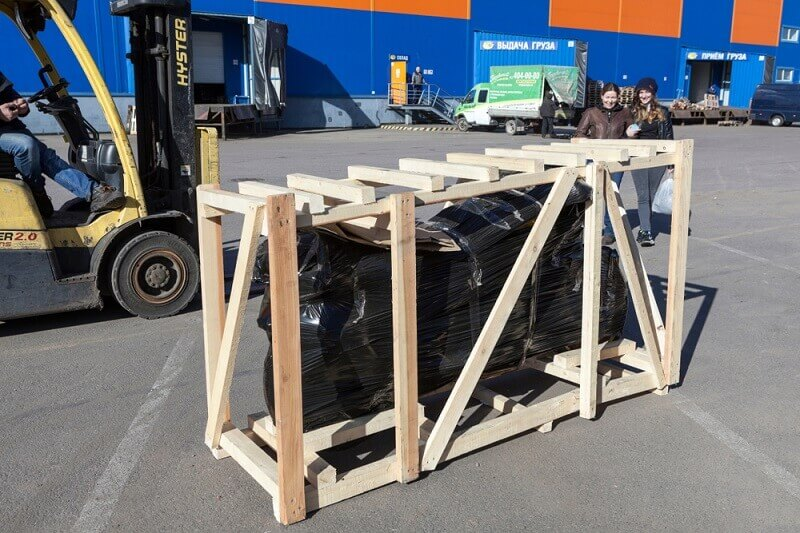 packing a motorcycle with a wooden crate