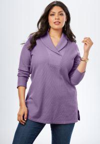 Thermal Shawl Collar Tunic | Plus Size Tunics | Roaman's