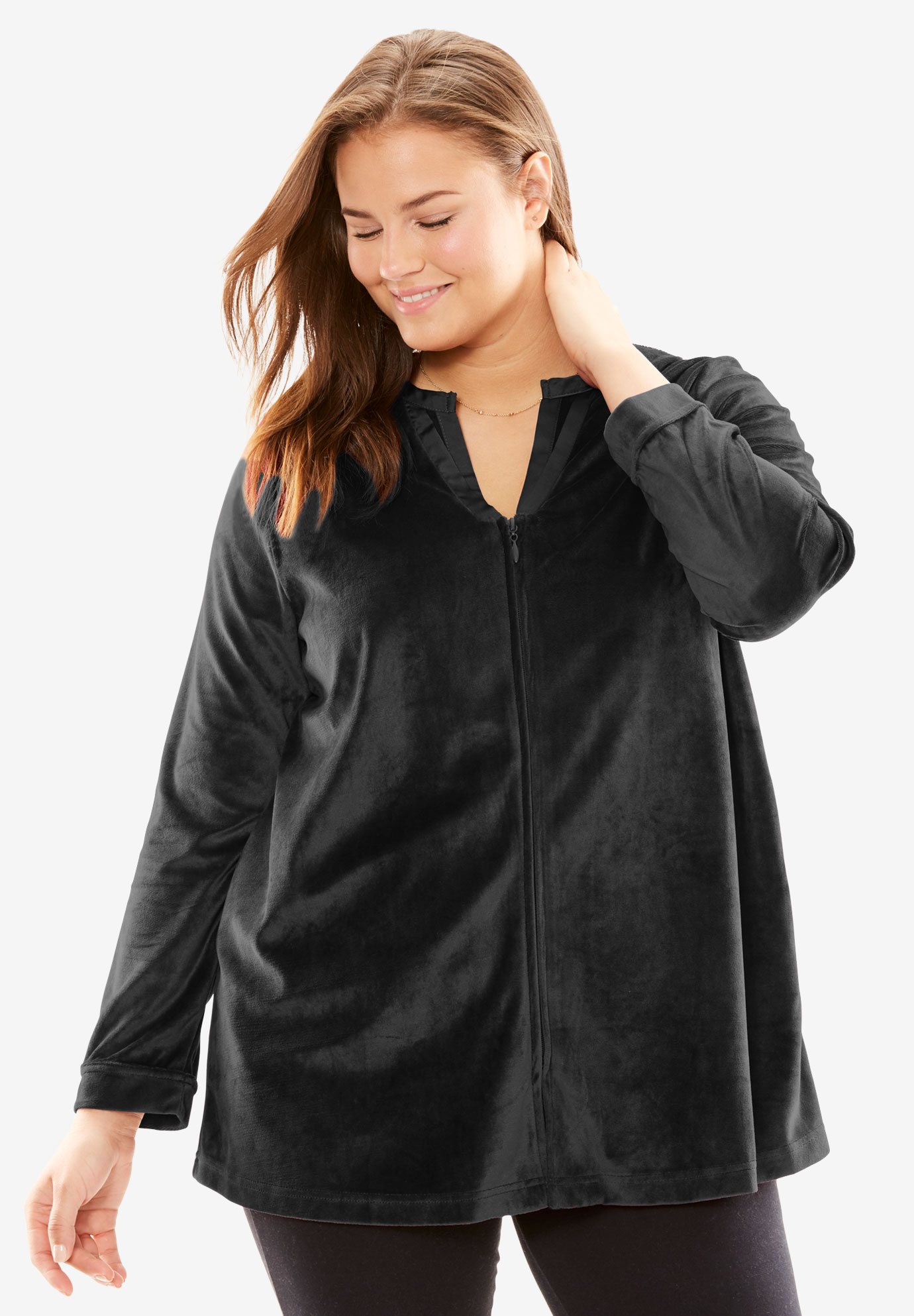 Velour Bed Jacket By Only Necessities Plus Size