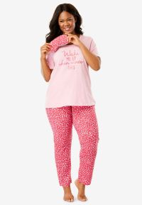 PJ Set with Free Eye Mask by Dreams & Co. | Plus Size ...