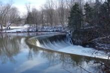 Man-made waterfall near Bull's Bridge