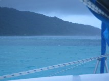 Heavy winds with flying water in a relatively flat anchorage