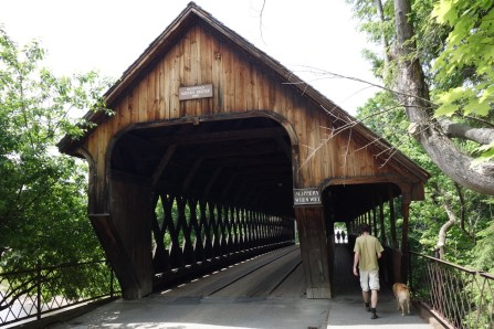 Covered bridge in town