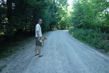 Walking home from the mailbox along our gravel road