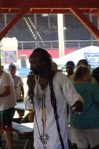 Singer/presenter Addis intermingles with the crowd