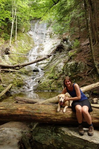 Liesbet and Jenny in front of Parker Brook Falls